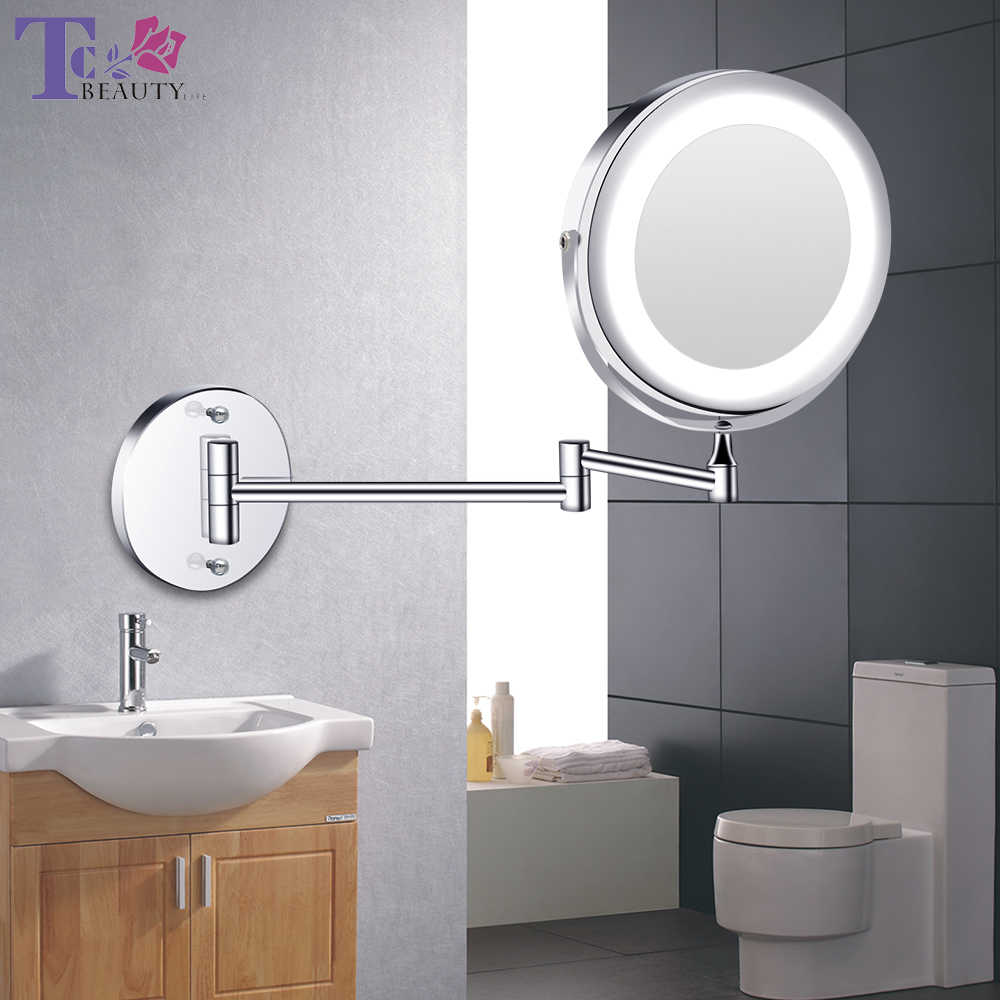 Led Makeup Mirror With Light Folding Wall Vanity Mirror 1x 10x Magnifying Double Sided Touch Bright Adjustable Bathroom Mirrors Aliexpress