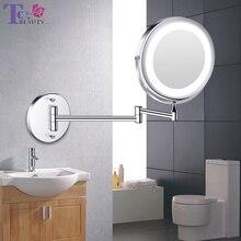 Espejo de pared plegable con luz Led para maquillaje, espejo de tocador de doble cara, táctil brillante, ajustable, 1x10 aumentos
