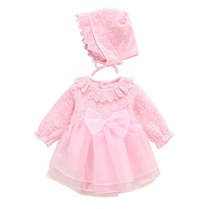 2021 Infant Christening Dress Newborn Baby Girl Clothes&dresses Cotton Princess 0 3 6 12 Months Lace One-piece Dress Baby Girl