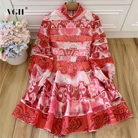 VGH Print Dress For Women Stand Collar Lantern Long Sleeve Ruched Hit Color Ruffles Elegant Dresses Female 2020 Autumn New Style