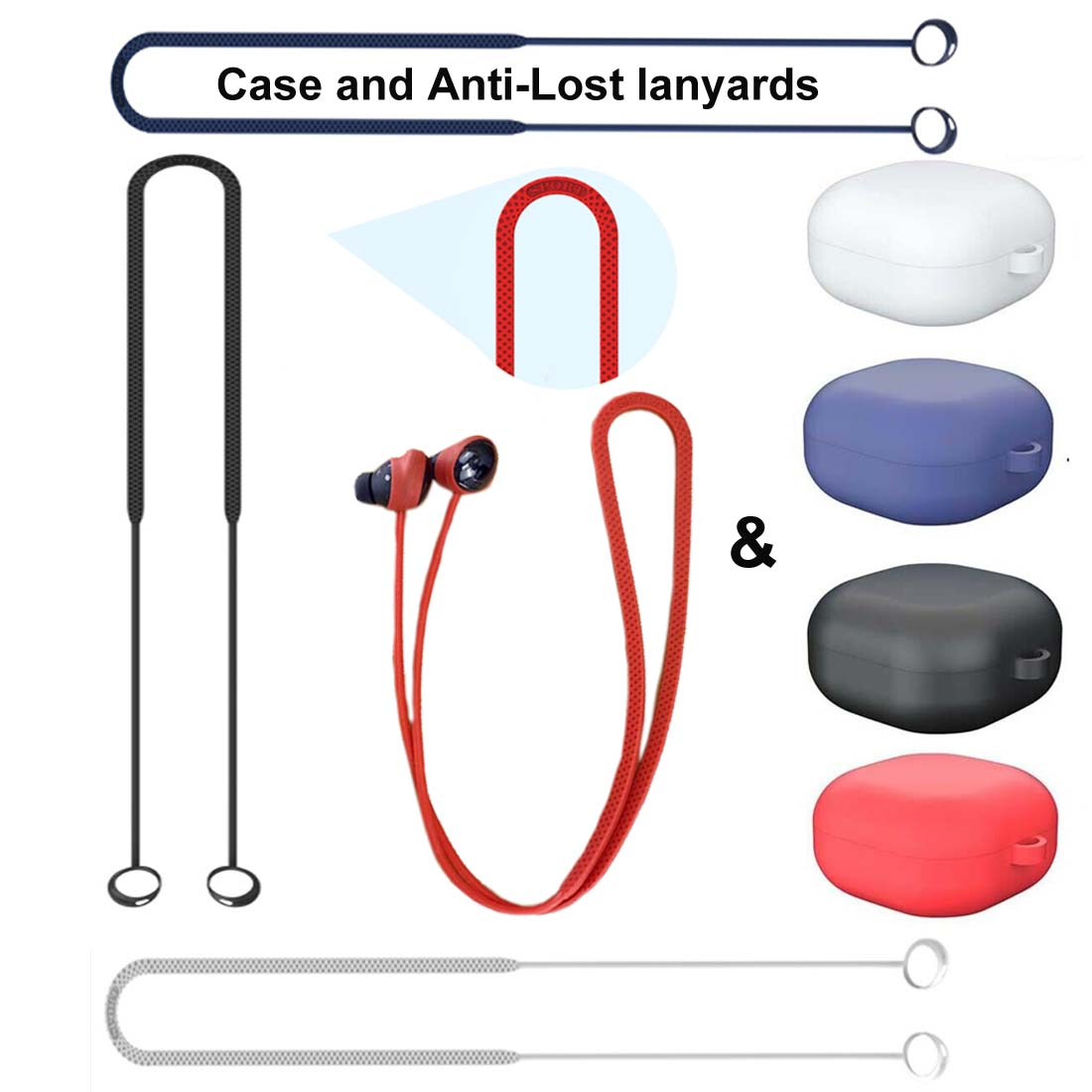 For Samsung Galaxy Buds Pro Silicone Case Cover & Anti-Lost lanyards with Ear Tips Eartips