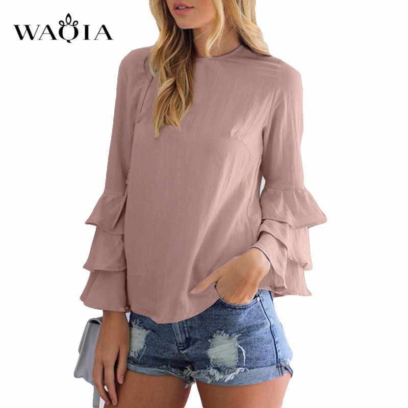 Talla grande 5XL mujeres Tops y blusa elegante mujeres camisas de gasa primavera otoño manga larga cuello redondo blusas Casual Tops