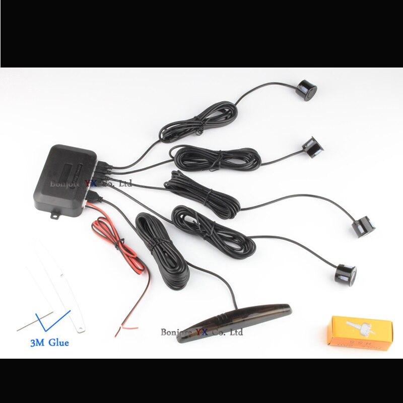 Image 2 - Koorinwoo LED display Car Parking Sensors 4 Radars Automobile Jalousie Parkmaster Car detector Parktronic Alarm Black white Grey-in Parking Sensors from Automobiles & Motorcycles