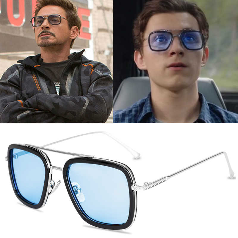 2019 New Fashion Avengers Tony Stark Sunglasses Men Metal Square iron man Glasses Steampunk Sun Glasses Male