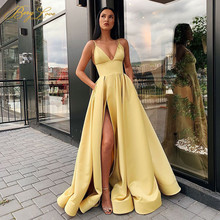 Prom-Dress Evening-Dresses Satin Robe-De-Soiree Side-Slit Sexy High-Waist V-Neck Spaghetti-Strap