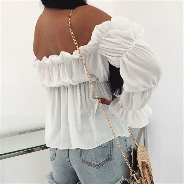 Blusa de chifón plisada con hombros descubiertos para mujer, camisa Sexy elegante de Color liso para oficina y calle, 2021 3