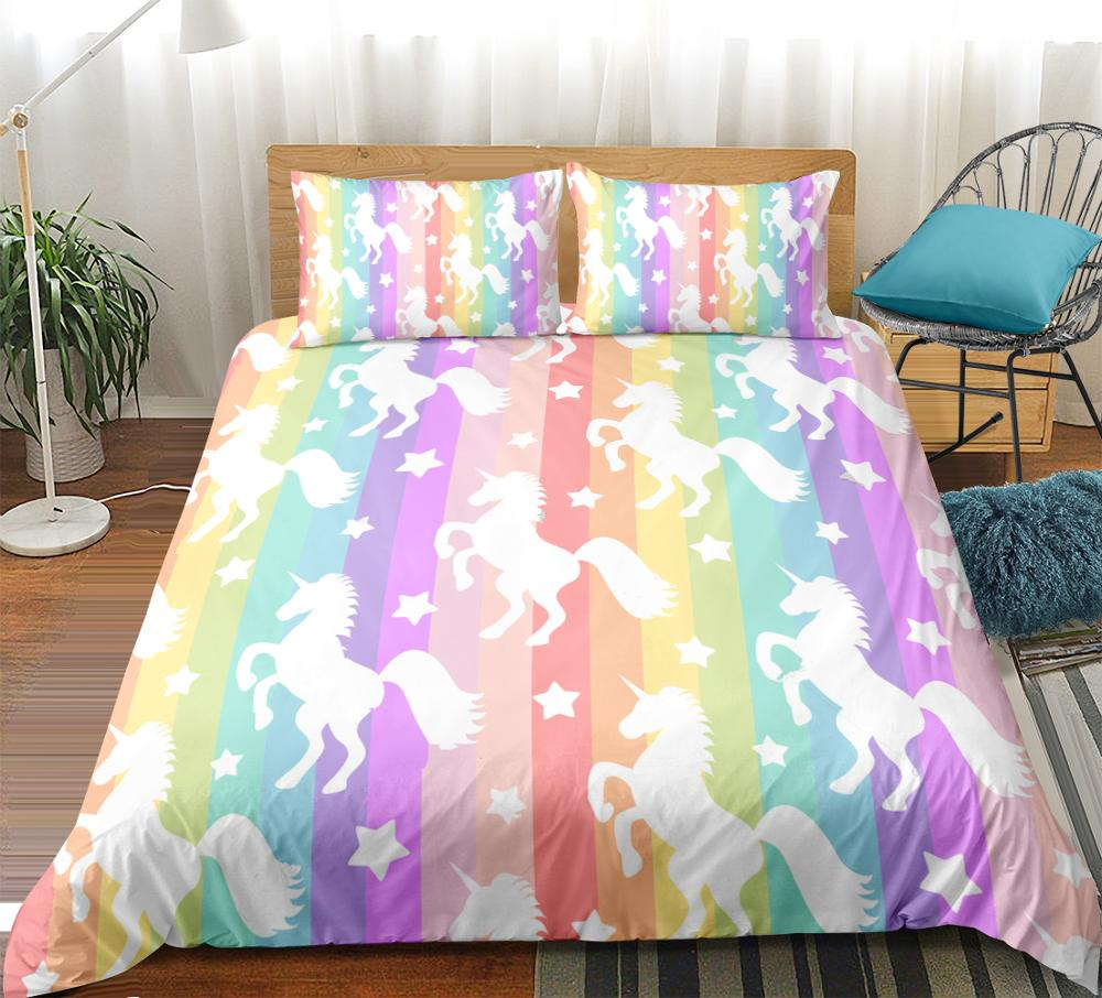 Magical Pretty Unicorn Luxurious Duvet Cover Sets Reversible Bedding 3D Style