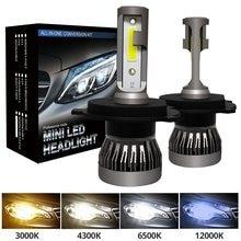 Kit de farol de carro mini led h4 h7, 6000k 3000k 8000k 72w 9005 lm h1 h11 lâmpadas de carro hb3 9006 hb4 h8 6000k, acessórios