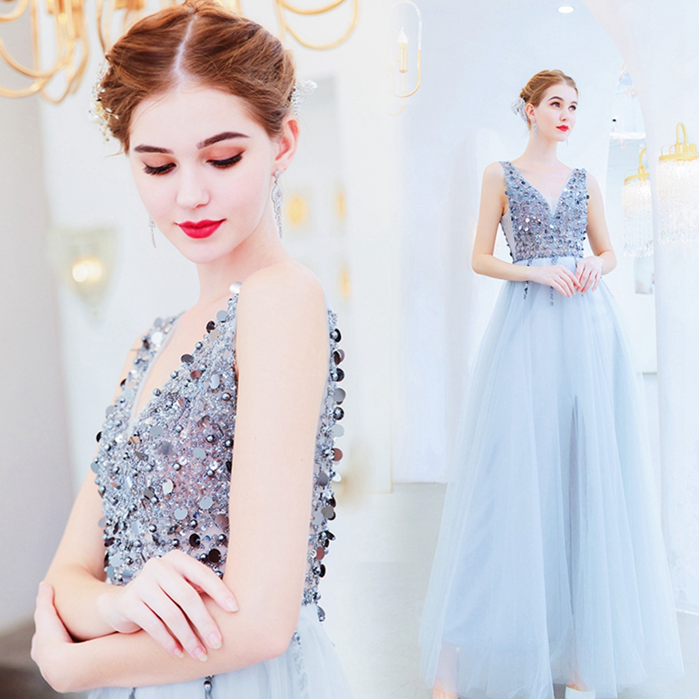 Elegant Formal Party Long   Prom     Dresses   2019 V Neck Sleeveless Sequined vestido de festa Tulle Backless Evening Gowns gala jurken