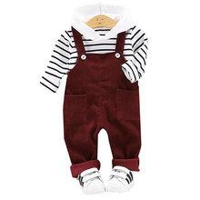 Детский костюм в полоску с поясом и брюками