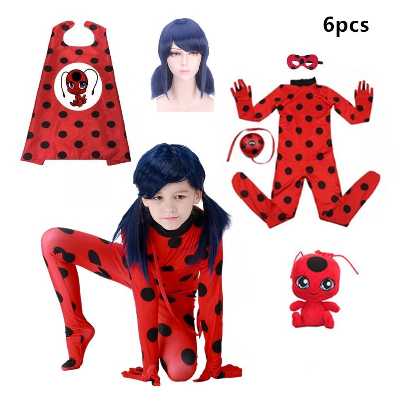 Carnival Clothing Adult Lady Bug Cosplay Sets Ladybug Halloween Christmas Party Custume Kids Marinette Girls Suit Spot Hot Sale
