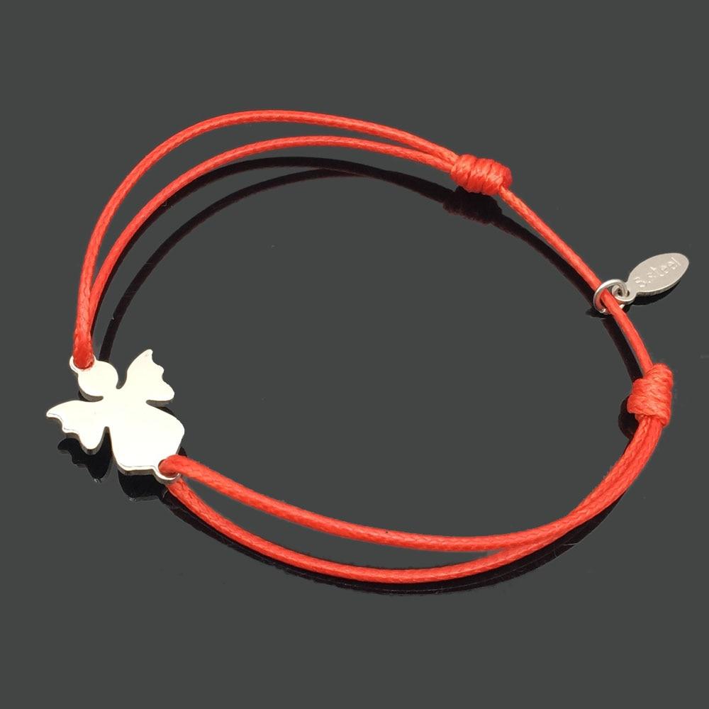 2 шт браслет желаний из нержавеющей стали, регулируемый шнур, хороший браслет, приносящий удачу, красный браслет дружбы - Окраска металла: stainless angel