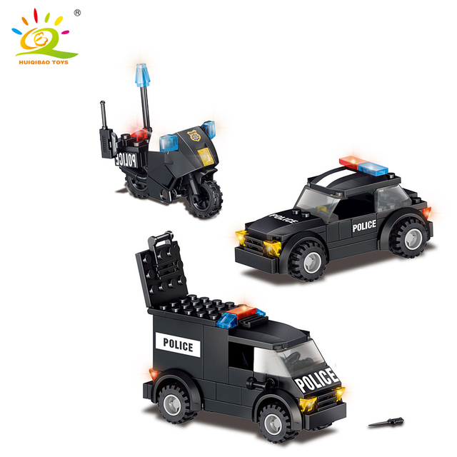 HUIQIBAO 739pcs Police Station Prison Car city model Building blocks kit policeman figures Bricks Construction Toys For Children