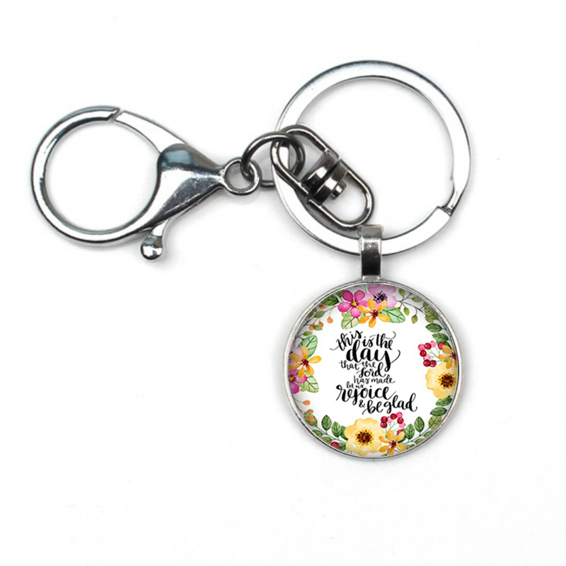 Hot He Called Me A Beautiful Bible Verses Pendant Glass Cabochon Letter Pattern Glass Dome Keychain Jewelry Accessories Handmade in Key Chains from Jewelry Accessories