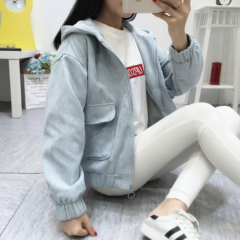 H180cdf0acf184a0c8a33425fbe84cb7ak Jacket Chaqueta Coat  Clothes Streetwear New 2019 Women Jacket Long Sleeve Turn-down Collar Outerwear Brown Corduroy Coat Jacket