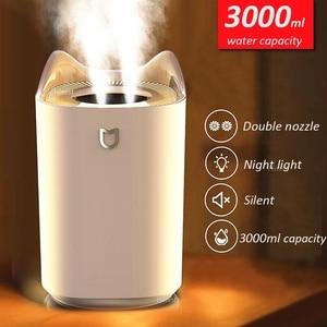 Image 1 - Domowy nawilżacz powietrza 3000ML podwójna dysza fajna mgła rozpylacz zapachów z kolorowym światłem LED ciężka mgła ultradźwiękowy USB Humidificador
