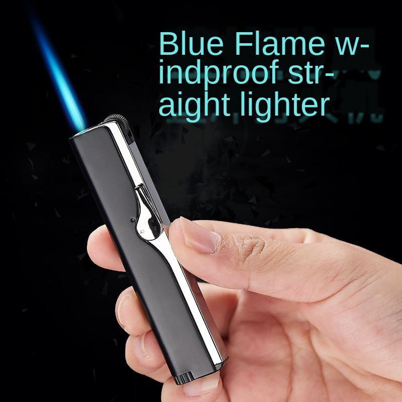 Network Hong Cayi Gas Cigarette Lighter Douyin Celebrity Style Inflatable Windproof Straight Cigarette Lighter