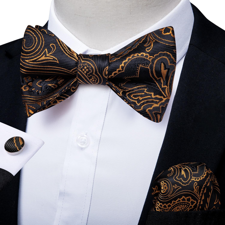 MENS BLACK PAISLEY BOW TIE bowtie pre-tied men/'s