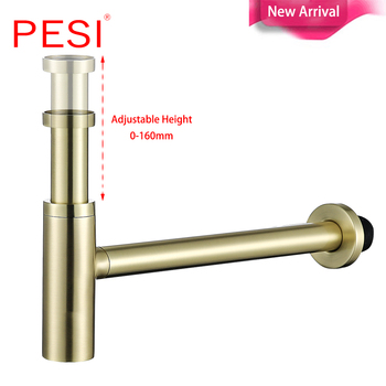 Brass Bottle Trap Bathroom Sink Vanity Basin Pipe Waste Drain Pipe Siphon Drainer Brushed Gold P-Trap.