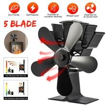 5 Blade Heat Powered Stove Fan Black Fireplace Log Wood Burner Eco Heater Tool Quiet Fan Home Efficient Heat Distribution