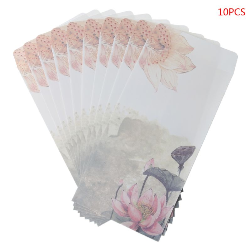 10Pcs/set Beautiful Chinese Style 5th Envelope Ink Painting Writing Packaging Supplies Bagged Letter Tools LX9A