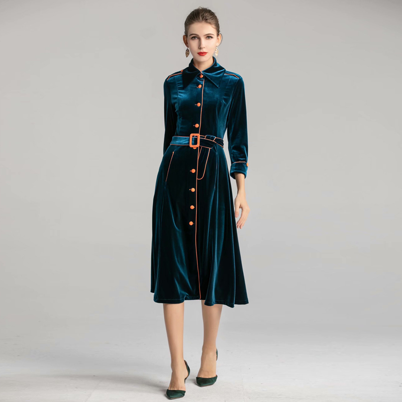 Long Dress High Quality Autumn Winter New Women'S Fashion Party Workplace Vintage Elegant Chic Single Breasted Velvet Dresses