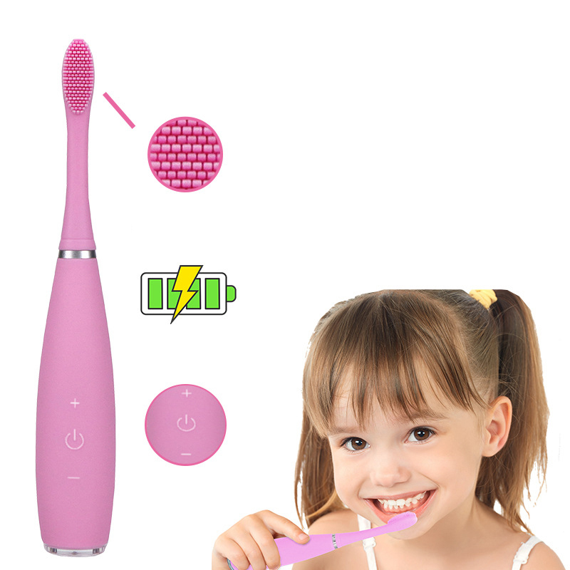 Children's Electric Toothbrush Rechargeable Silicon Electric Toothbrush Waterproof Acoustic Electric Toothbrush Blue