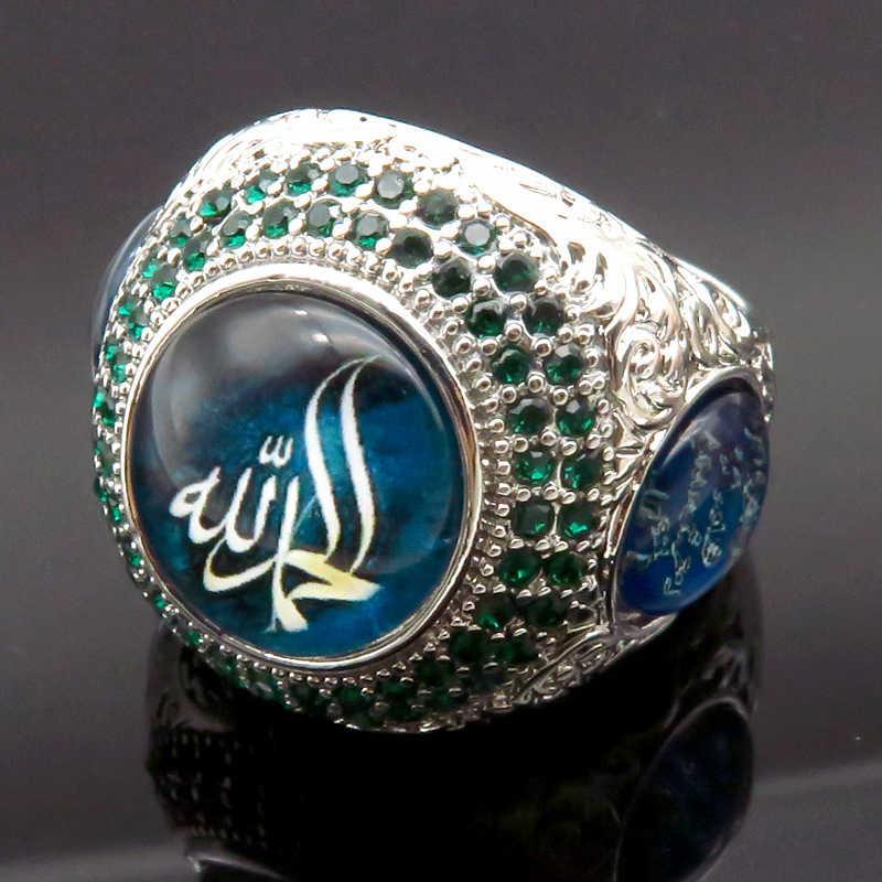 Dos homens de alta Qualidade Fresco Grande Anel de Pedra Verde Árabe Islam Deus Mensagem Enorme Anel de Sinete Punk Jóias anillo hombre z5X808