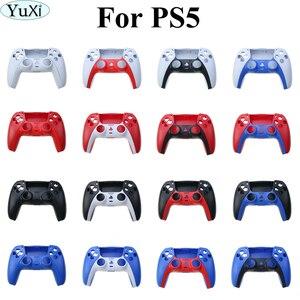 Image 1 - YuXi أذرع التحكم في ألعاب الفيديو استبدال قذيفة غمبد حالة الغطاء الأمامي الخلفي غطاء لسوني PS5 مقبض استبدال مجموعة شريط زخرفي