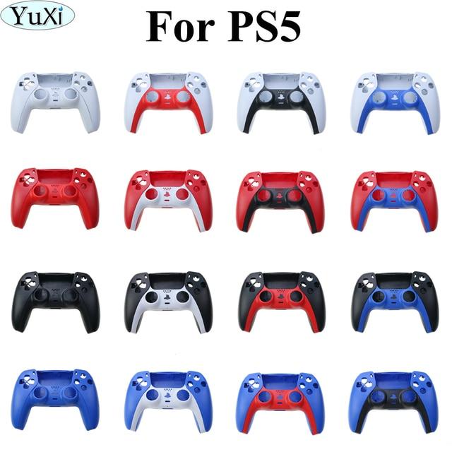 YuXi أذرع التحكم في ألعاب الفيديو استبدال قذيفة غمبد حالة الغطاء الأمامي الخلفي غطاء لسوني PS5 مقبض استبدال مجموعة شريط زخرفي