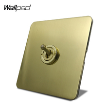 Wallpad Satin Gold H6 Toggle Switch Electric Light Switch 1 Gang 1 Way or 2 Way Brushed Brass Color Stainless Steel Panel