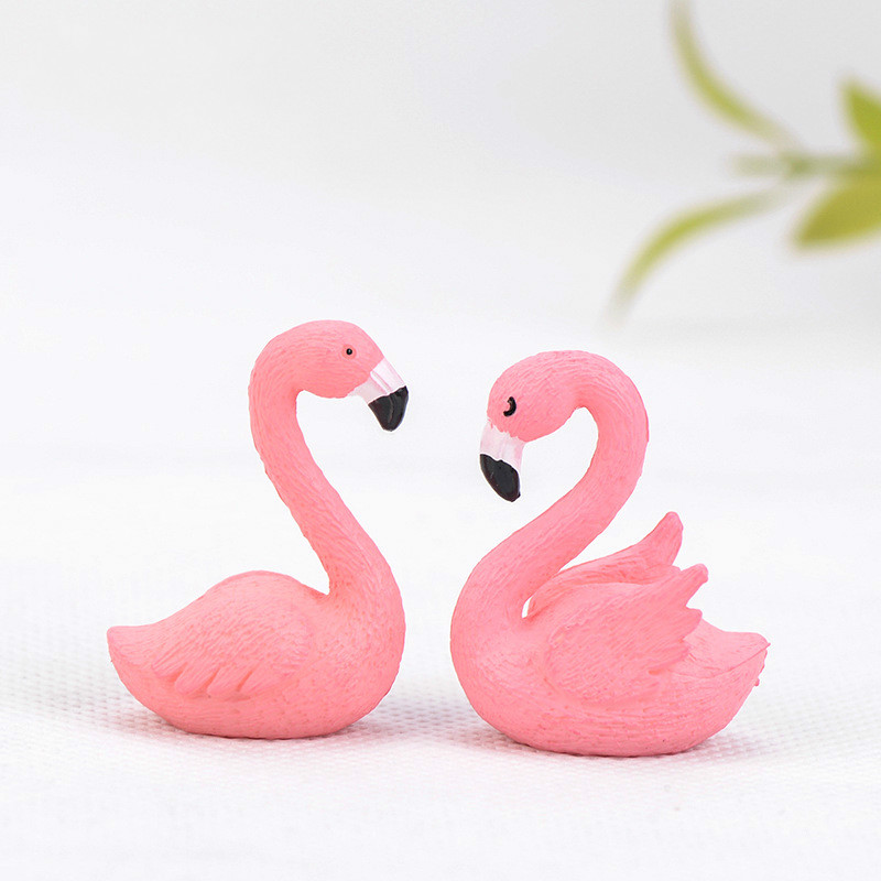 Pink Flamingo Figurine Miniature Cute Bird Fairy Garden Decor Micro Landscape Succulent Handmade Craft Gift Keychain Accessory