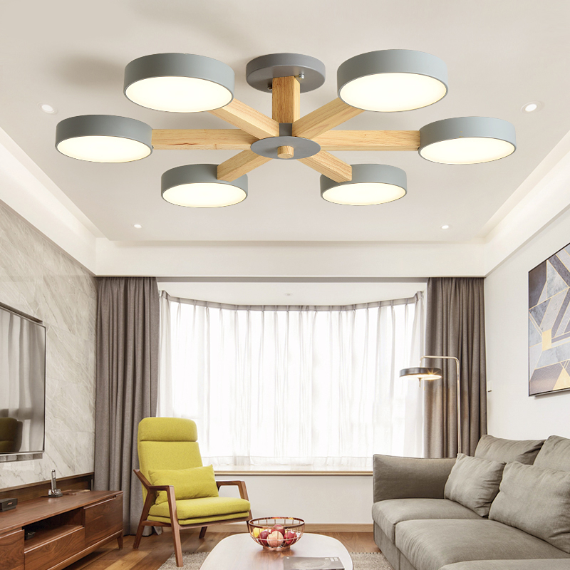 Modern 220V LED Pendant Lights New Arrival LED Pendant Lamp With Round Gray Metal Lampshades For Living Room Wooden Bedroom