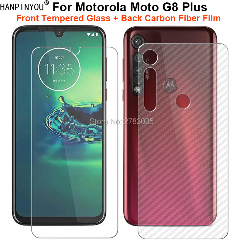 For Motorola Moto G8 Plus 1 Set = Soft Back Carbon Fiber Film Skin Sticker + Ultra Thin Tempered Glass Front Screen Protector