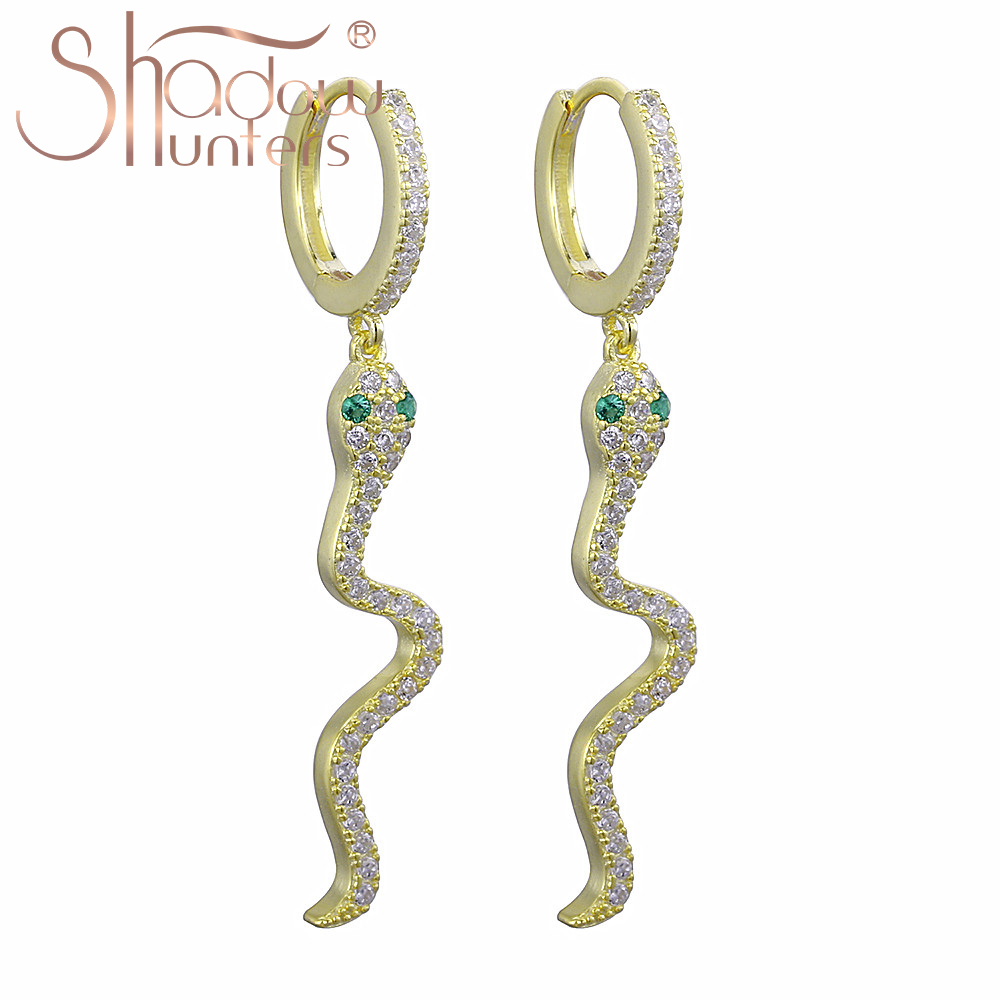 Simple Snake Earrings Charm Animals Dangle Style Serpent Long Chain Threader Earrings