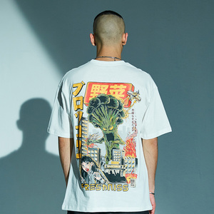 Image 5 - T shirt surdimensionné en coton style japonais pour homme, haut, monstre de dessin animé, harajuku, hip hop, streetwear, été, 2020