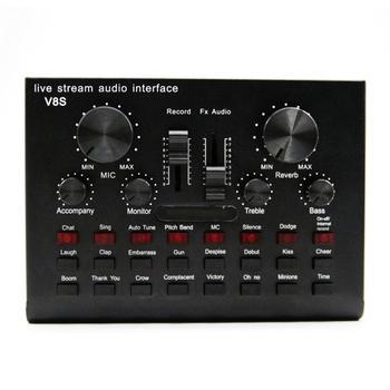 2020 상위 판매 V8S 사운드 카드 라이브 드라이브 무료 충전식 사운드 카드 BT 영어 버전 기타 액세서리