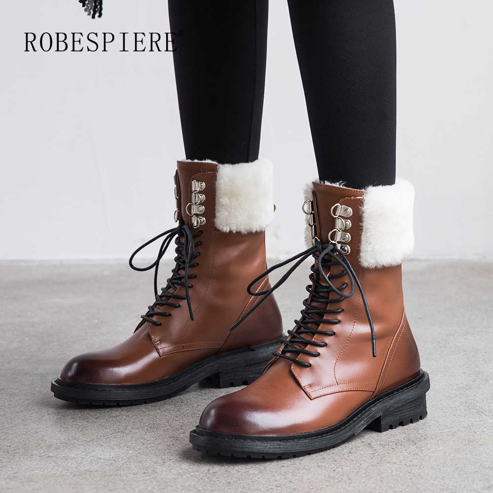 ROBESPIERE Lambswool ฤดูหนาวรองเท้าผู้หญิง Lace Up หนังรองเท้ารอบ Toe ส้นสูงขนาดใหญ่ขนาด Snow BOOTS b116