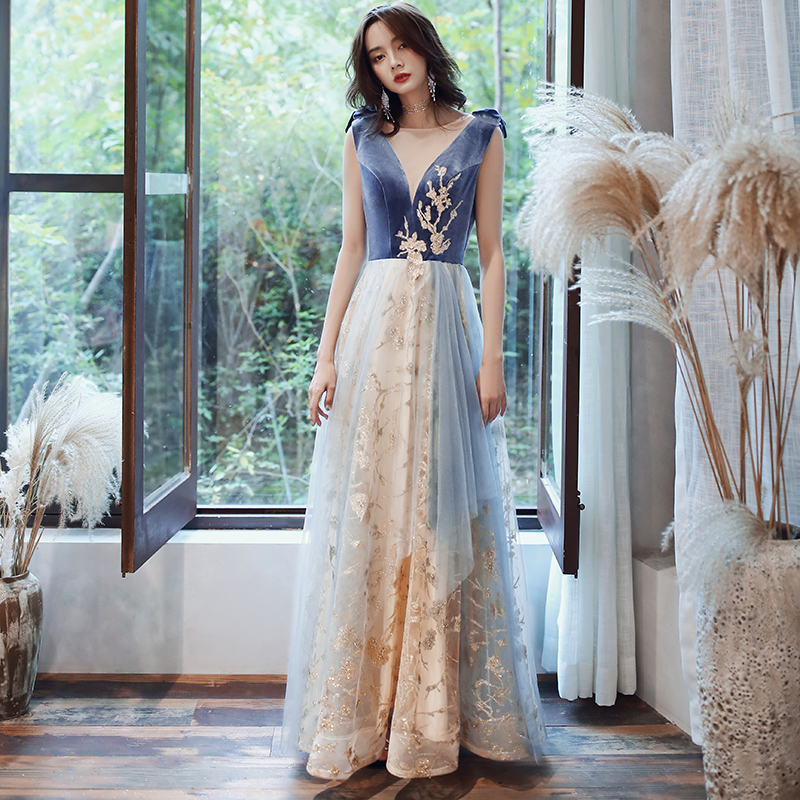Novelty Blue Evening Party Dress Sexy V-Neck Cheongsam Elegant Full Length Qipao Exquisite Maxi Chinese Gown Robe De Soiree