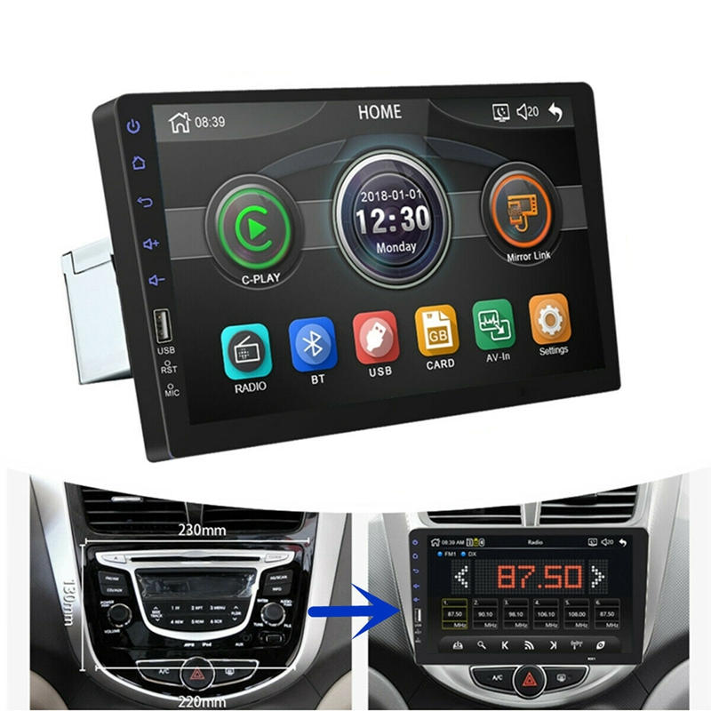 9Inch 1Din Car MP5 Player Press Screen FM Radio Bluetooth USB AUX Mirror Link