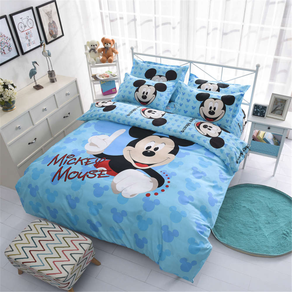 Disney Mickey Mouse Kids Bed Bedding Sets Cartoon Girls Duvet Cover Bedclothes Pillowcase Sheet Children Soft Bed Linen Set