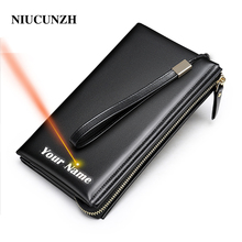 NIUCUNZH Men's wrist bag for men luxury design custom purse For phone men's fashion Clutch bag for Men top bag men leather 7305