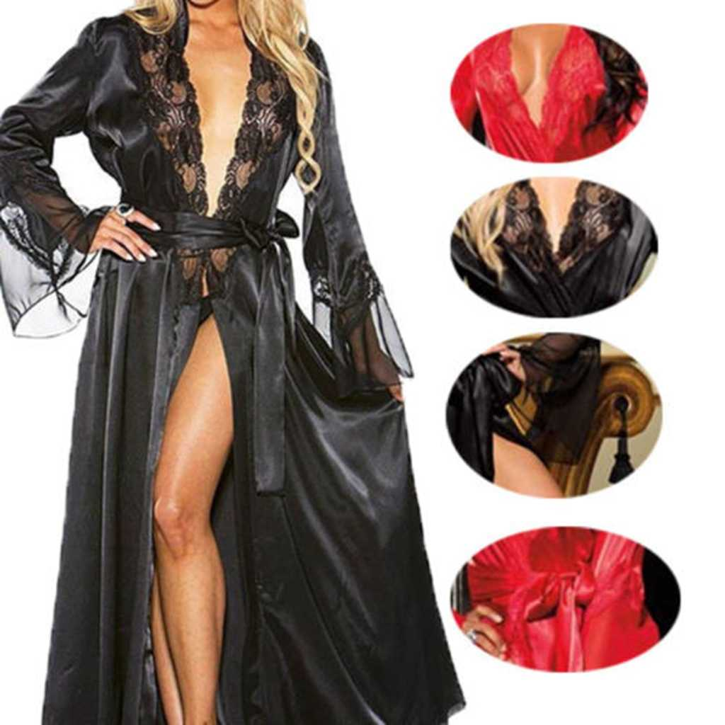 Women Ladies Sexy Long Silk Kimono Dressing Gown Bath Robe Nightgowns Sleepshirts Nightdress Cotton Black White Red