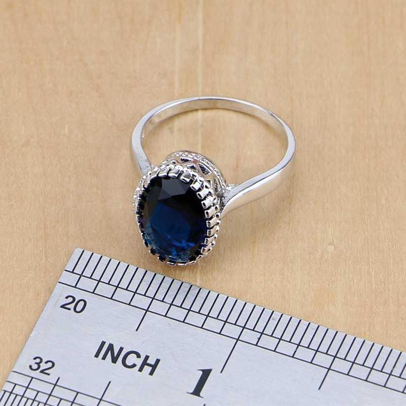 925 เงินสเตอร์ลิงเครื่องประดับ Blue Cubic Zirconia เครื่องประดับชุดต่างหู/จี้/สร้อยคอ/แหวน/สร้อยข้อมือ