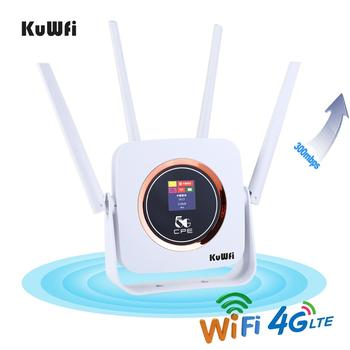 KuWFi 4G Router Cat6 300Mbps Unlocked Wireless CPE Router 4G LTE SIM Wifi Router With SIM Card Slot &RJ45 Lan Port цена 2017