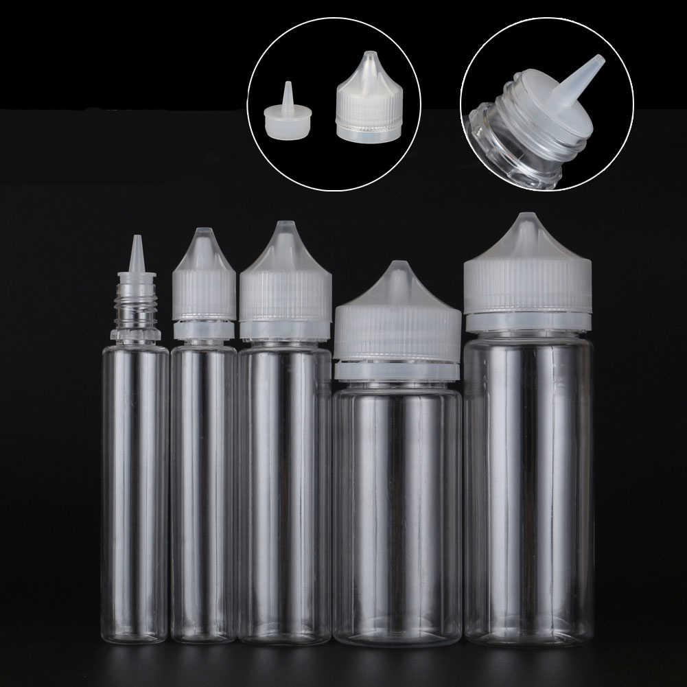 10Pcs 10 ml/30 ml/50 ml/60 ml/100 ml/120 ml ใหม่โปร่งใส Dropper ขวดพลาสติก E Liquid น้ำน้ำมันสัตว์เลี้ยงล้างภาชนะ