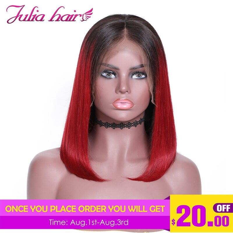 Ali Julia 13 4 Short Bob Lace Front Human Hair Wigs T1B 99J Ombre Red Wine