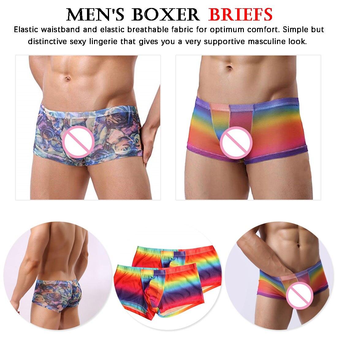 Men Underwear Notes Elastic Waist Boxer Briefs S