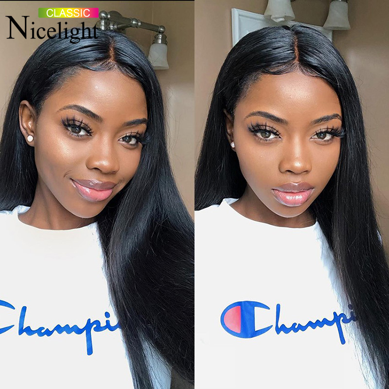 Frontal Wig U Part Straight Lace Front Wig Nicelight 2X4 Straight Frontal Wig Indian Weave Hair Straight Human Hair Wig 14