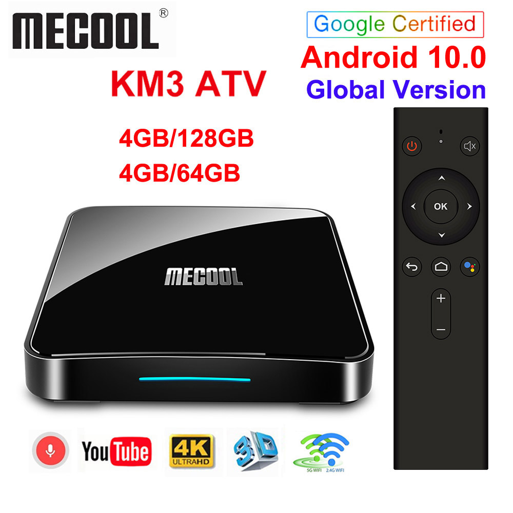 Google Certified Androidtv 10 0 MECOOL KM3 ATV 4GB 64GB KM9 PRO TV Box Android 10 Android 9 0 Amlogic S905X2 4K Dual Wifi BT4 0